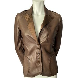 Joie Brown Leather Silk Lined Jacket Raw Hems XS